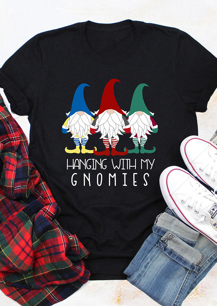 Gnome In Garden: Christmas Hanging With My Gnomies T-Shirt Tee