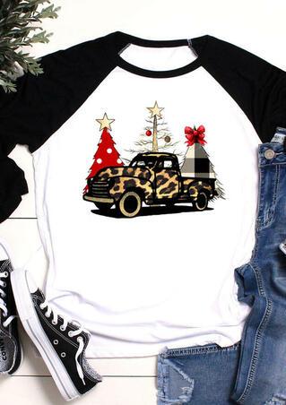 Leopard Printed Car Christmas Tree T-Shirt Tee - White