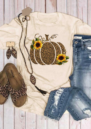 Leopard Printed Pumpkin Sunflower T-shirt Tee - Beige