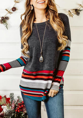 Colorful Striped Splicing Blouse without Necklace - Dark Grey