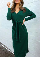 Solid_Tie_Slit_Long_Sleeve_Casual_Dress_without_Necklace__Green