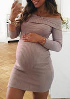 Maternity_Solid_Off_Shoulder_Mini_Dress__Khaki