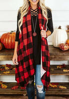 Plaid_Splicing_Asymmetric_Cardigan_without_Necklace__Red