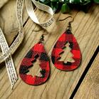 Plaid_Hollow_Out_Christmas_Tree_Leather_Earrings