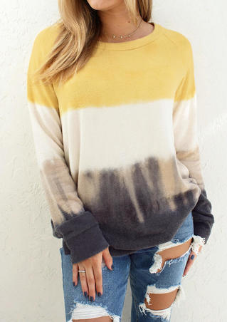 Tie Dye O-Neck Blouse without Necklace - Yellow