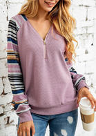 Colorful_Striped_VNeck_Zipper_Blouse__Pink