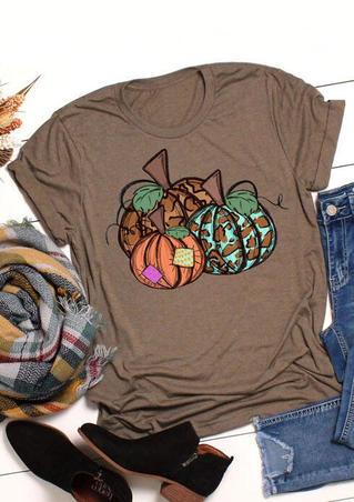 Leopard Printed Splicing Thanksgiving Pumpkin T-Shirt Tee - Coffee
