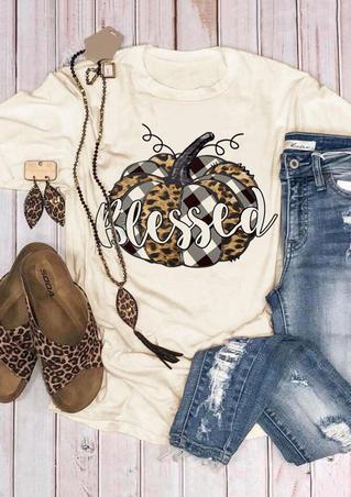 Plaid Leopard Printed Pumpkin Blessed T-Shirt Tee - Beige
