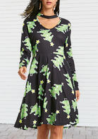 Christmas_Tree_Printed_Hollow_Out_Mini_Dress__Green