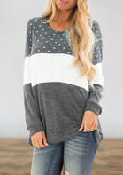 Polka_Dot_Color_Block_Splicing_Blouse__Gray
