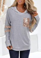 Sequined_Splicing_Pocket_Long_Sleeve_Hoodie_without_Necklace__Gray