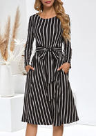 Striped_Tie_Pocket_Long_Sleeve_Casual_Dress__Black