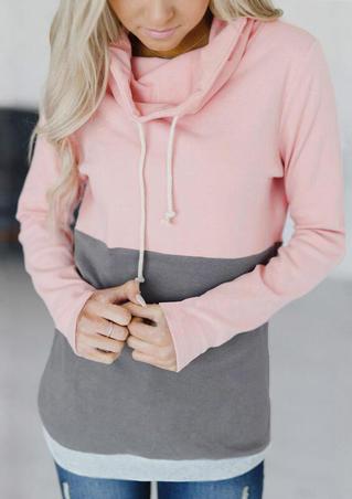 Color Block Drawstring Cowl Neck Sweatshirt - Pink