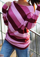 Striped_Splicing_Slash_Neck_Blouse__Pink