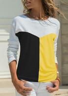Color Block O-Neck T-Shirt Tee