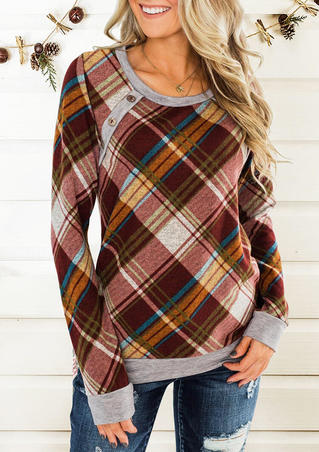 Plaid Splicing Button Blouse without Necklace