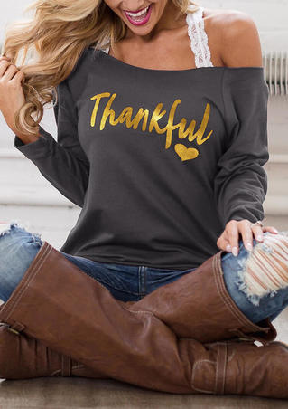 Thankful Heart Off Shoulder Blouse without Strap - Gray