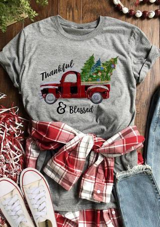 Christmas Tree Thankful Blessed T-Shirt Tee - Gray