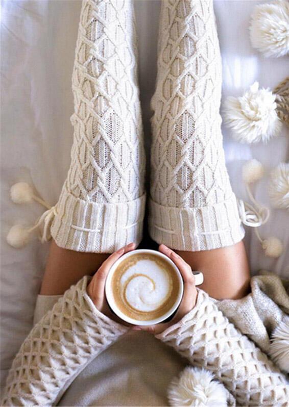 Over Knee Knitting Thickened Hairball Socks