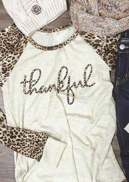 Thankful Leopard Splicing T-Shirt Tee - Beige