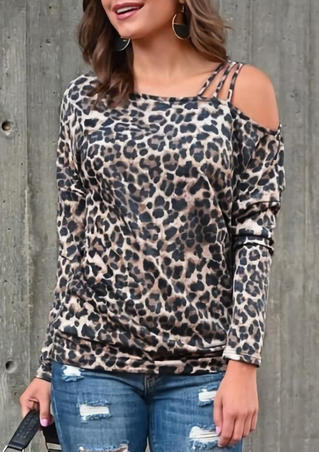 Leopard Printed Hollow Out One Shoulder Blouse