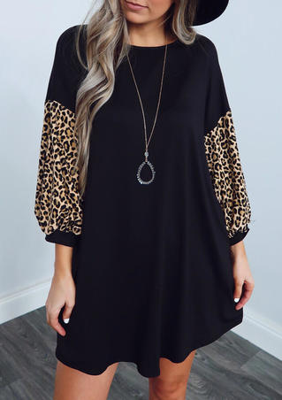 Leopard Splicing Mini Dress without Necklace - Black