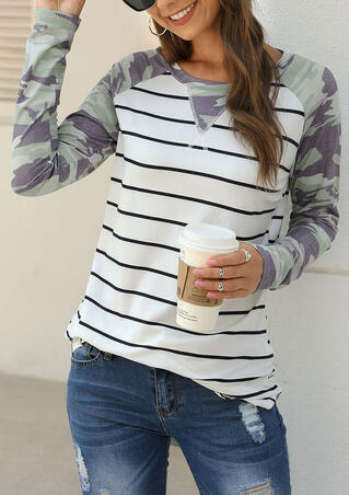 Camouflage Striped Splicing T-Shirt Tee - White