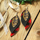 Plaid Printed Leaf Multi-Layered Leather Earrings