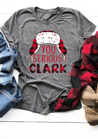 Christmas You Serious Clark Plaid Printed Splicing T-Shirt Tee - Gray