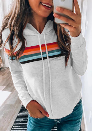 Colorful Striped Splicing Drawstring Hoodie - Light Grey