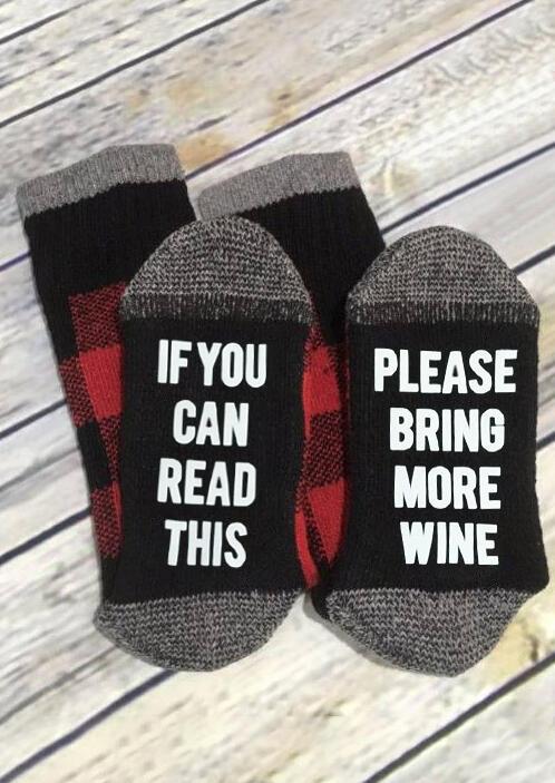 Plaid Please Bring More Wine Socks