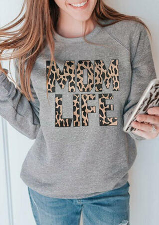 Leopard Printed Mom Life O-Neck Sweatshirt - Gray