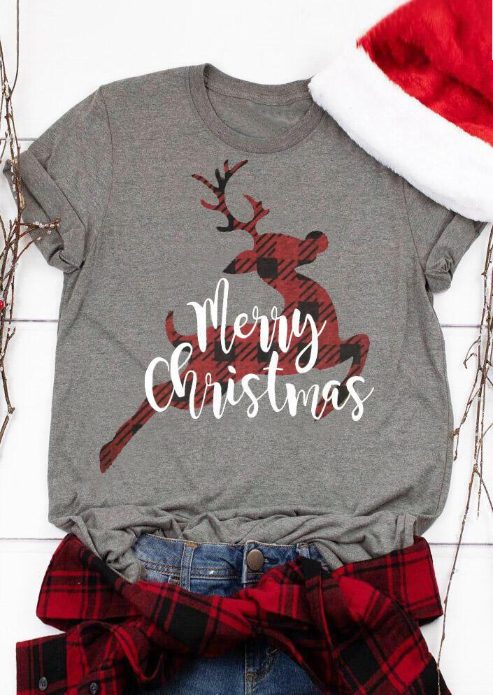 Merry Christmas Reindeer T-Shirt Tee - Gray