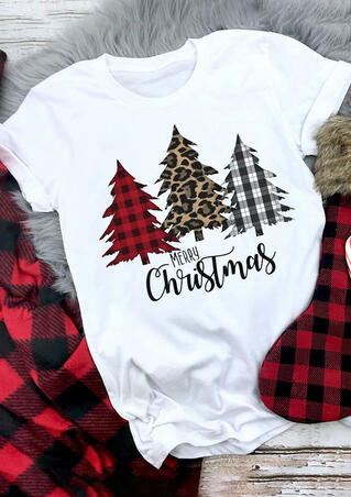 Merry Christmas Plaid Leopard Printed Tree T-Shirt Tee - White