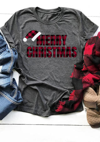 Merry Christmas Plaid O-Neck T-Shirt Tee - Gray