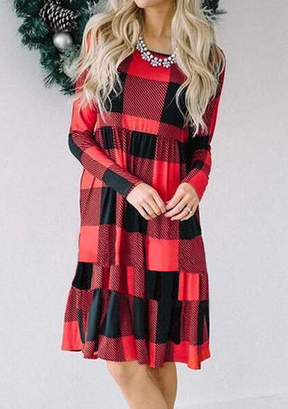 Plaid Splicing O-Neck Ruffled Mini Dress without Necklace - Red