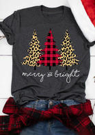 Plaid Leopard Printed Christmas Tree Merry And Bright T-Shirt Tee - Gray
