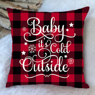 Christmas Plaid Baby It's Cold Outside Pillowcase without Pillow