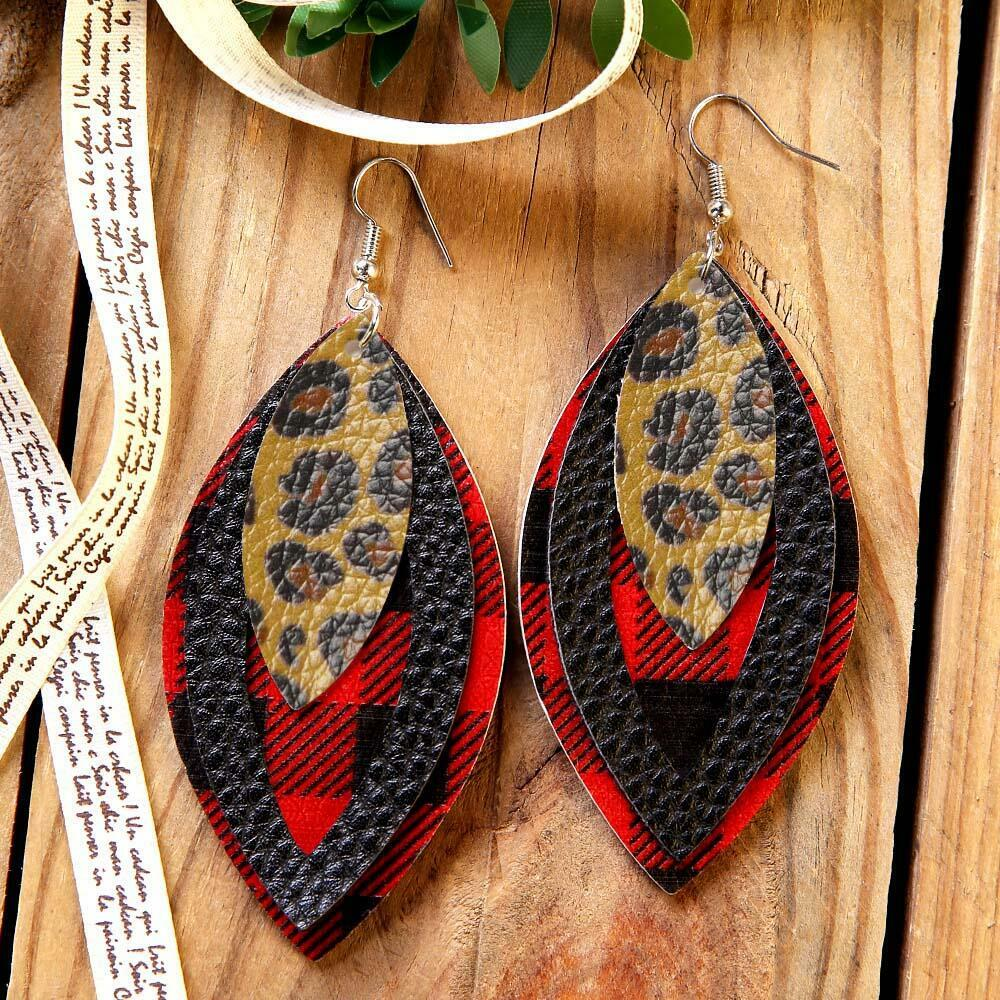Plaid Sequined Three-Layered Leather Earrings