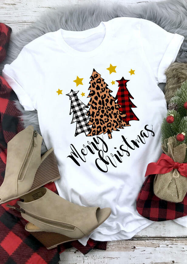 Merry Christmas Trees Plaid Leopard Printed Sweatshirt without Necklace - Gray