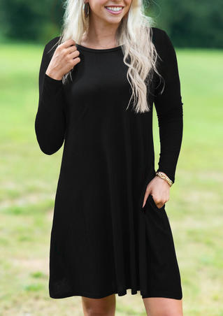 Solid Pocket Long Sleeve Mini Dress - Black