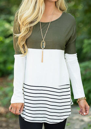 Striped Lace Splicing Long Sleeve Blouse without Necklace - Army Green