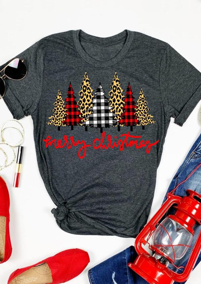 Merry Christmas Trees Plaid Leopard Printed T-Shirt Tee - Dark Grey