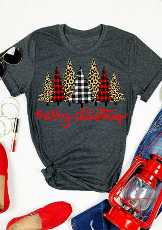 Merry Christmas Trees Plaid Leopard Printed T-Shirt Tee - Dark Grey