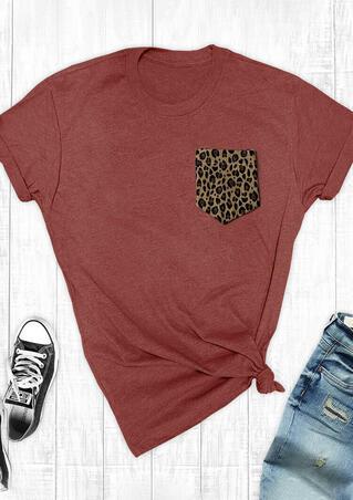 Leopard Printed Splicing Pocket T-Shirt Tee - Brick Red