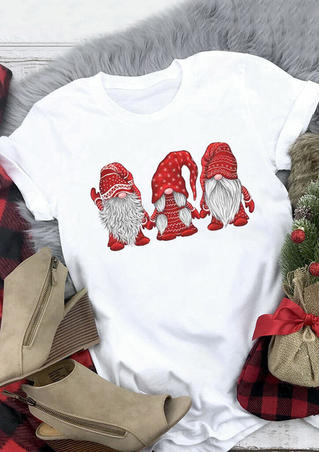 Christmas Gnomies O-Neck T-Shirt Tee - White