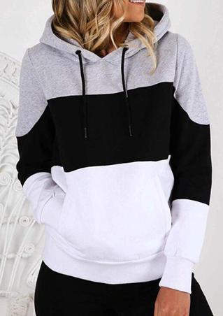 Color Block Drawstring Kangaroo Pocket Hoodie - Gray