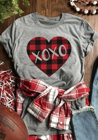 Valentine Plaid Heart Xoxo T-Shirt Tee - Gray