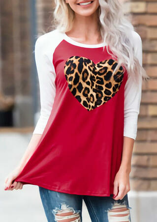 Leopard Printed Heart O-Neck Blouse - Red