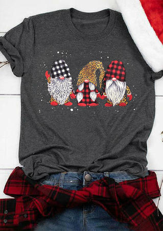 Plaid Leopard Printed Christmas Gnomies T-Shirt Tee - Dark Grey